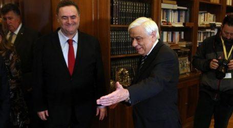 Το άριστο επίπεδο των σχέσεων Ελλάδος-Ισραήλ επιβεβαιώθηκε κατά τη συνάντηση του ΠτΔ με τον ΥΠΕΞ του Ισραήλ