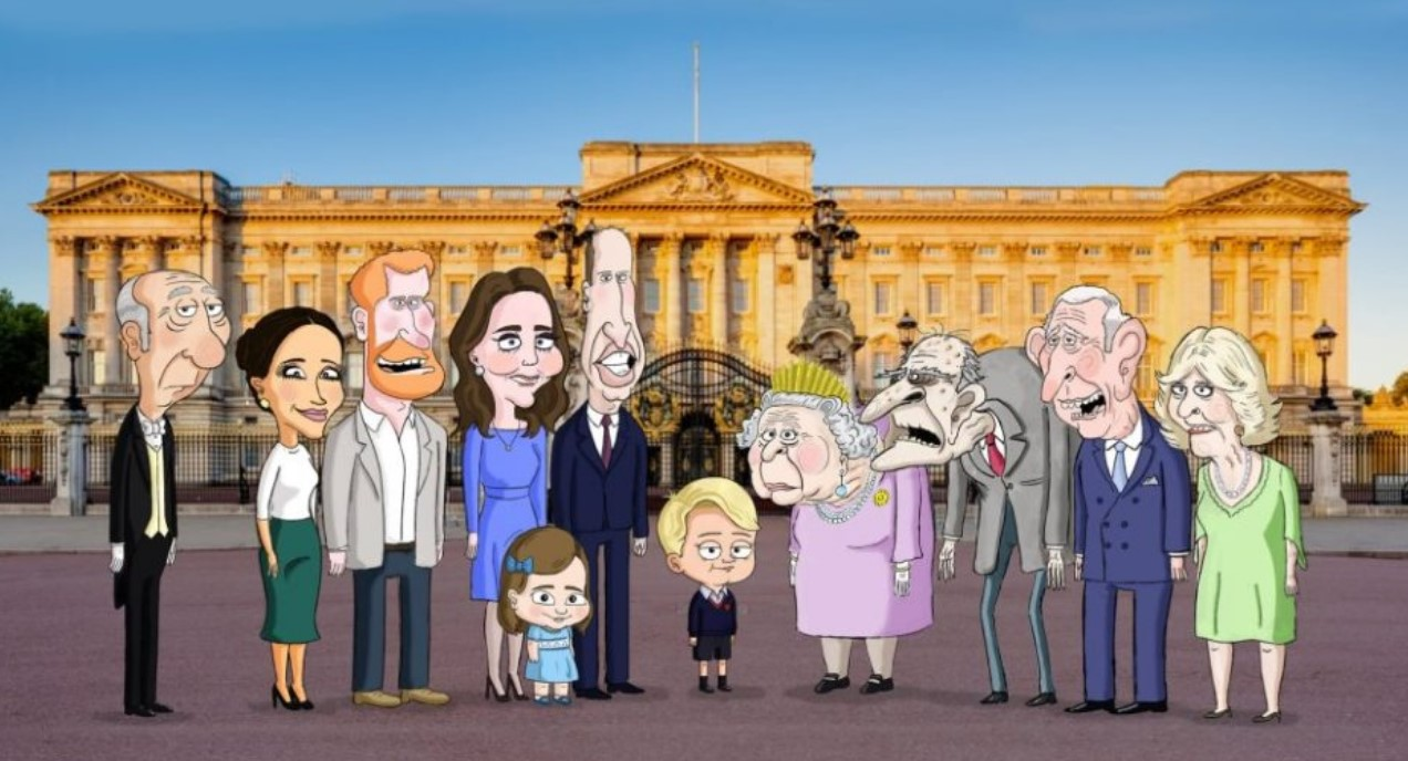 Η βρετανική βασιλική οικογένεια σε καρτούν