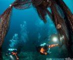 Δύο τόνοι «δίχτυα – φαντάσματα» ανασύρθηκαν από θαλάσσια περιοχή στο Στρατώνι Χαλκιδικής