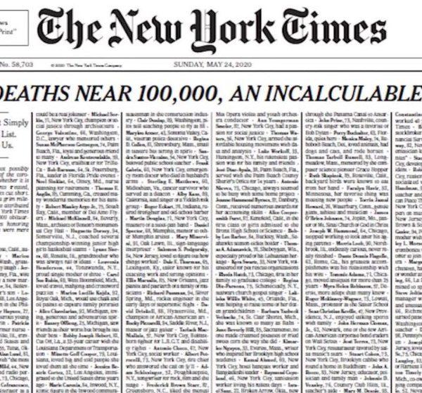 Οι New York Times αφιερώνουν την πρώτη σελίδα τους στα θύματα του κορωνοϊού