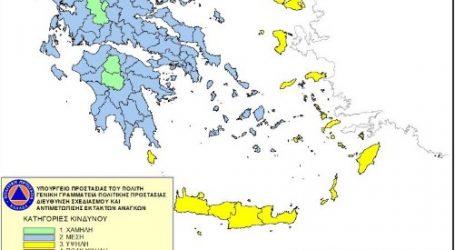 Χάρτης Πρόβλεψης Κινδύνου Πυρκαγιάς που ισχύει για αύριο