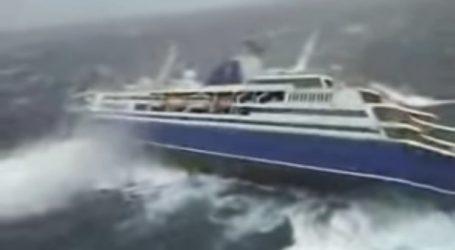 Βίντεο με κρουαζιερόπλοιο που παλεύει με τα κύματα